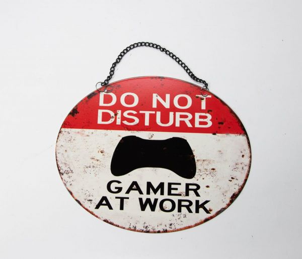 Schild DO NOT DISTURB GAMER AT WORK Industriestil