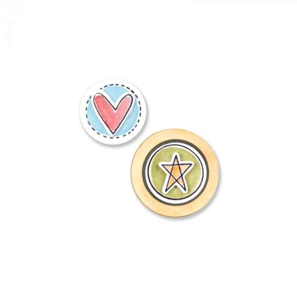Sizzix Stanze Framelits & Stamps Circles & Icons Heart & Star