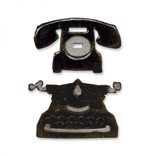 Stanze Movers & Shapers die Vintage Telephone & Typewrither
